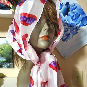"56x13"" Red Hat Society White Red Purple Scarf"